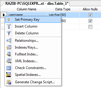 Set Primary Key